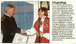 Tidningsnotis med Birgitta Dahl