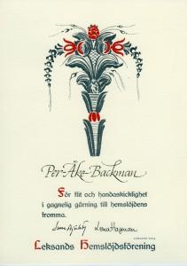 Diplom, Leksands hemslöjdsförening